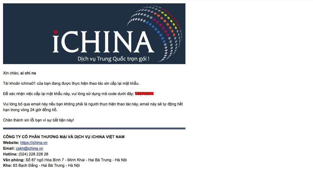 hướng dẫn cấp lại mật khẩu tài khoản ICHINA COMPANY